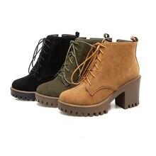 f548d009 2018 Casual moda Otoño señoras tobillo botas plataforma tacón alto Martin botas  mujer antideslizante invierno botas de algodón t.