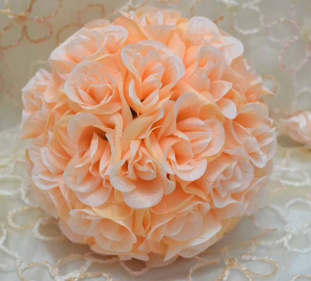 10 peach silk kissing ball artificial silk rose flower ball - Peach Garden Rose