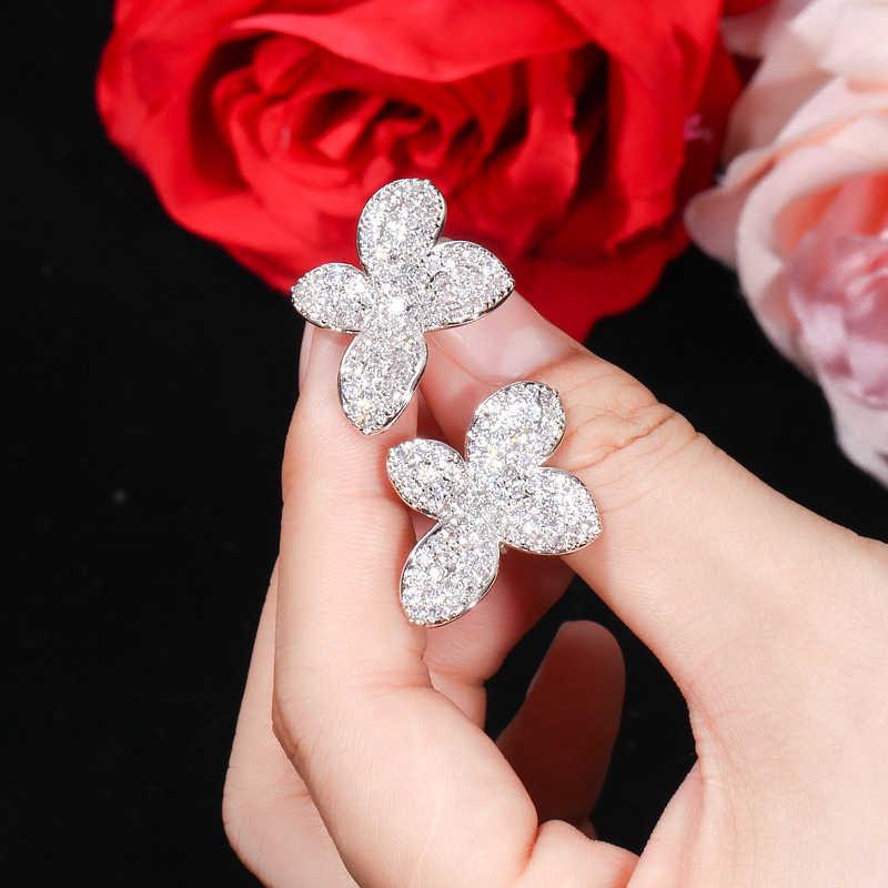 CWWZircons couleur or Rose Micro pavé CZ pierre fleur laisser Simple mode Stud boucle d'oreille pour les femmes célèbre marque boucles d'oreilles CZ436