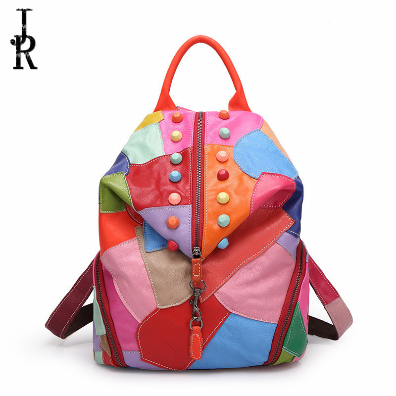 Brand Designer Women bag stitching hit color Genuine Leather lady backpack sheepkin color package Female School
