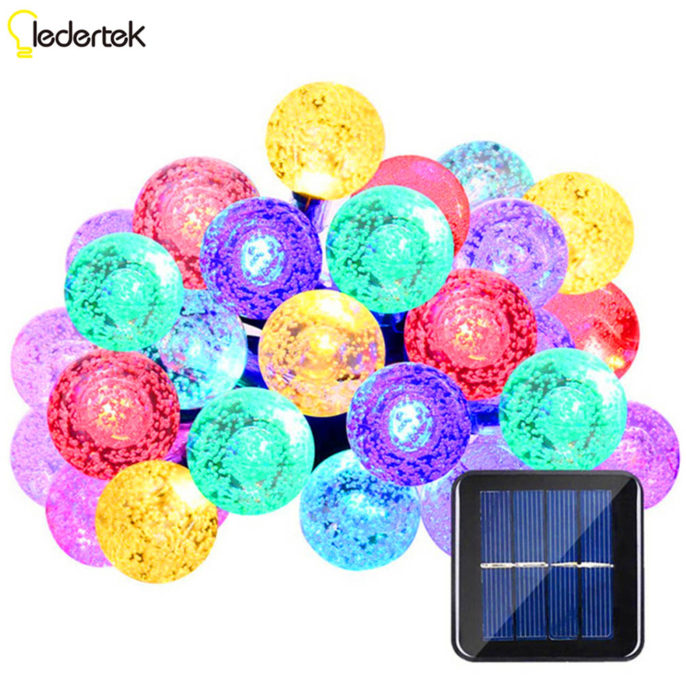 ft ledertek cristal led bola solar powered cadena luces ms populares global luces de hadas