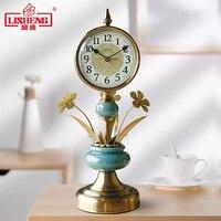 European Ceramic Clock Living Room Retro Desktop Clock Creative Ornaments Desk Table Clocks