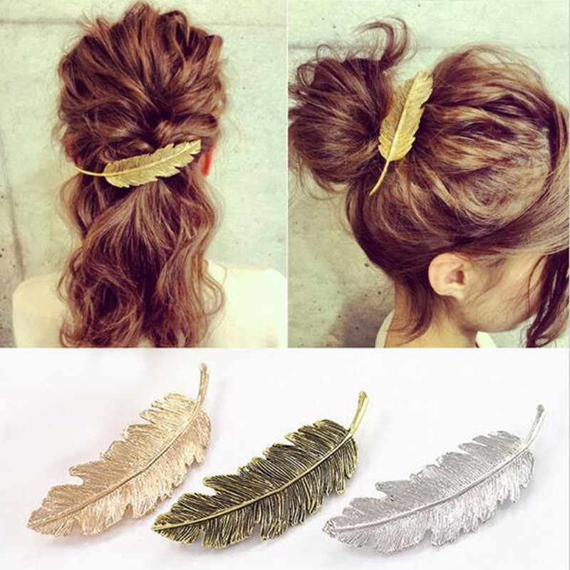 Koreansk Cute Gold Silver Bronze Plated Leaf Girls Hair Klipp Barrette Metal Hair Tilbehør for Kvinner Tilbehør Par El Pelo