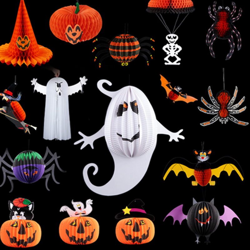 aliexpresscom buy halloween bar decoration props skeleton ghost witch spider parachute charm pumpkin lantern charms halloween decorations hw046 from