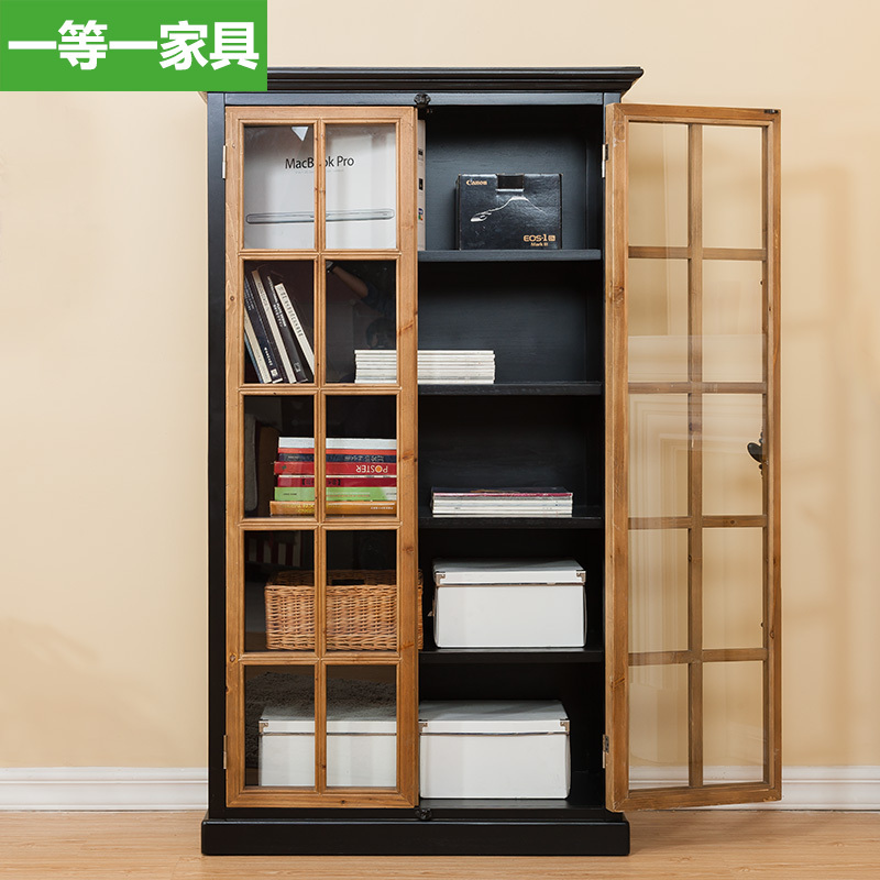 First American Country A Solid Wood Furniture Bookcase With Glass Door Bookcase Bookcase Free