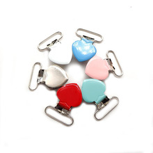 Chenkai 50PCS 1 25mm Heart Metal Suspenders Clip Baby Teether Soothers For DIY BabyTeething Dummy Pacifier Toy Accessory