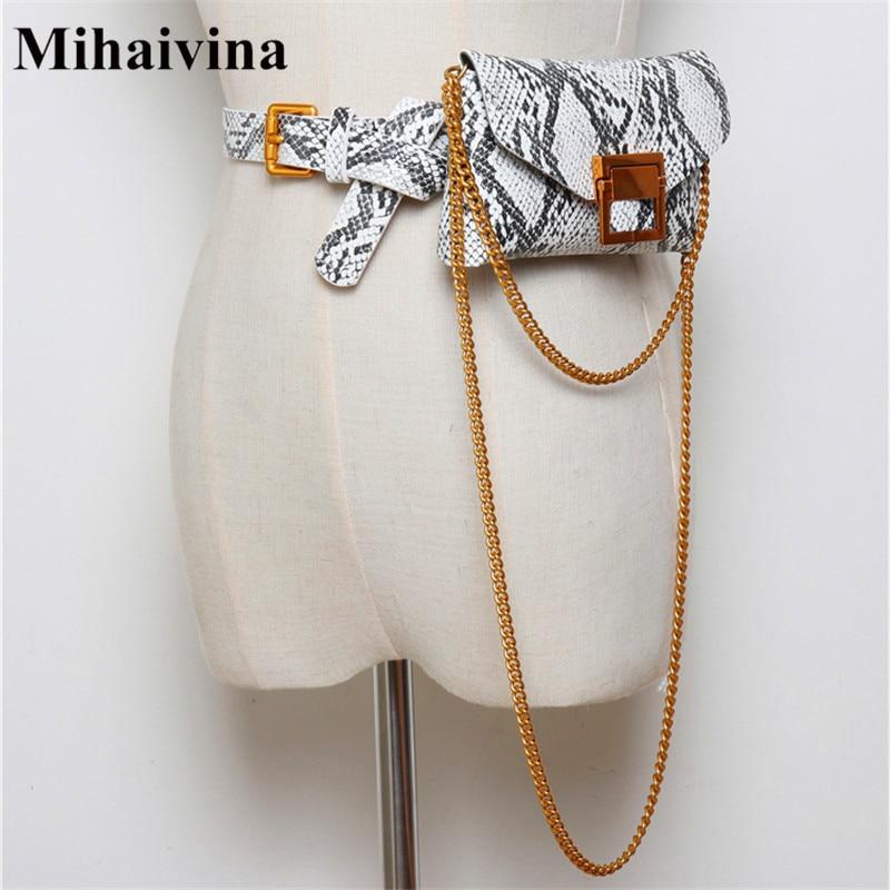 Mihaivina Serpentine Waist Bag Women Waist Belt Chain Shoulder Bag Fashion Female Waist Pack Female Belts Phone Pouch Bags