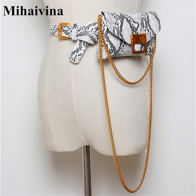 Mihaivina Serpentine Waist Bag Women Waist Belt Chain Shoulder Bag Fashion Female Waist Pack Female Belts Phone Pouch Bags