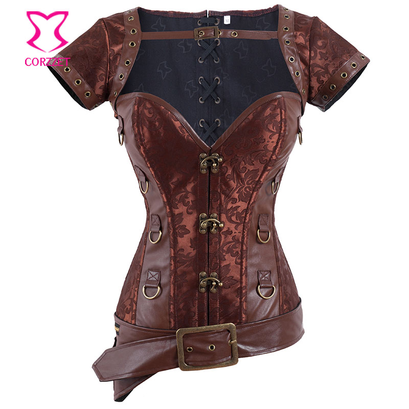 Brown Brocade Rivet Leather Bustier with font b Jacket b font Belt Gothic Clothing Steampunk Corset
