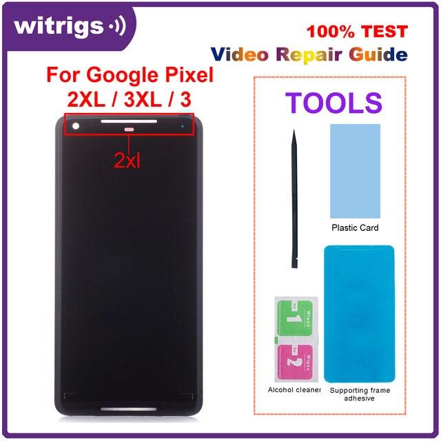 עבור גוגל פיקסל 2 XL 2XL LCD תצוגת מגע P OLED מסך Digitizer עצרת החלפת חלק עבור גוגל פיקסל 2 3 3 4 XL LCD