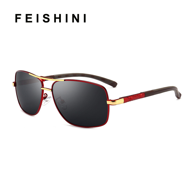Feishini Brand Polarized Sunglasses Men Rectangle New Fashion Eyes Protect Driver Glasses For Men With Accessories Goggles