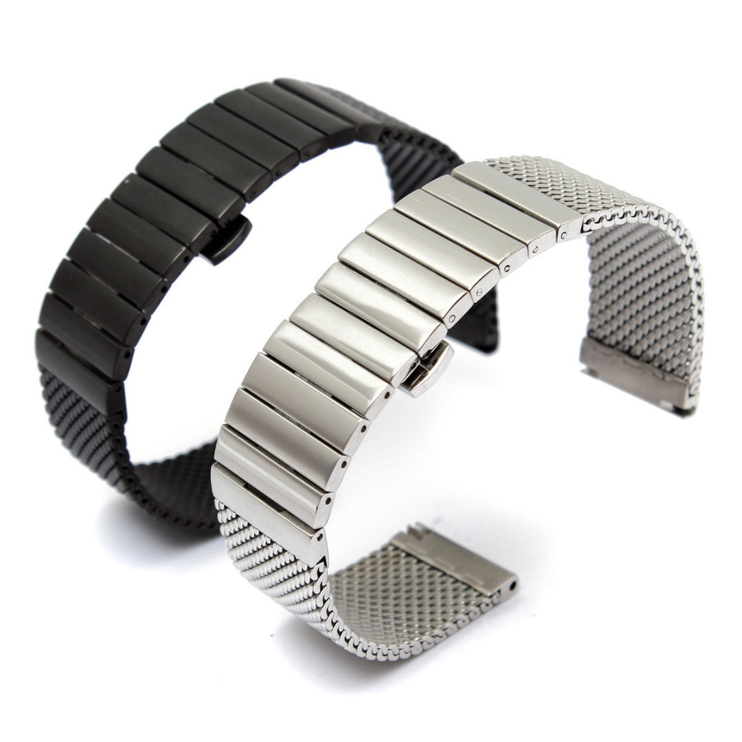 купить 18mm/20mm/24mm Stainless Steel Watch Band Straight End Butterfly Clasp Watch Strap Replacement Women Men Mesh Watchband Bracelet по цене 862.89 рублей