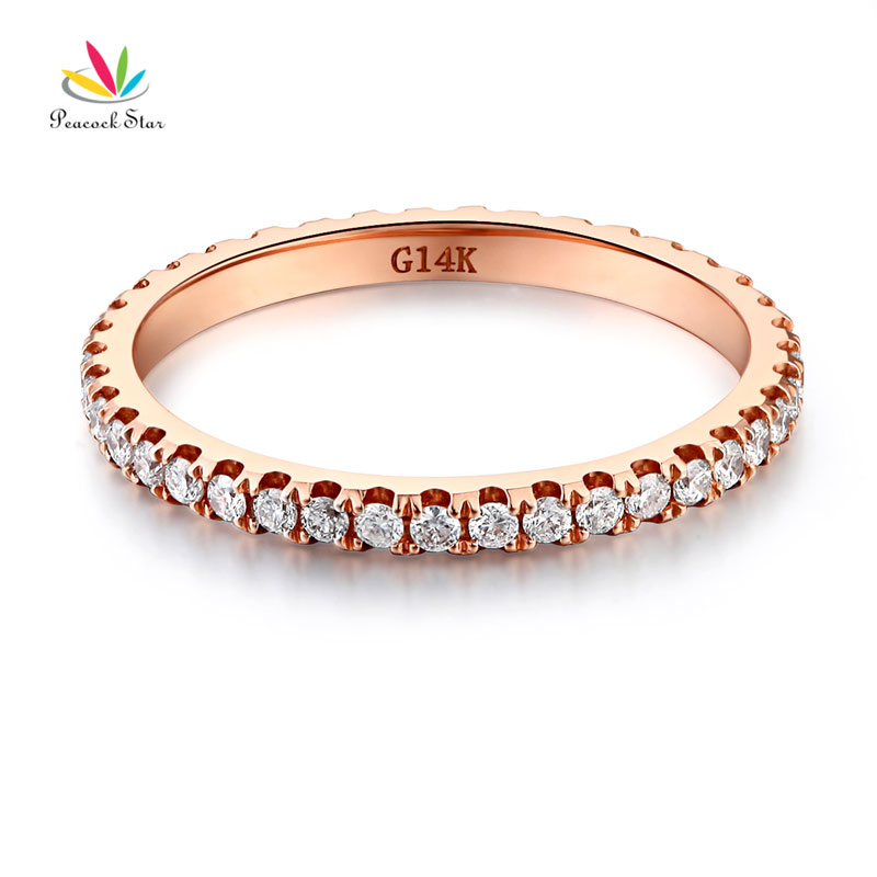 Peacock Star 14K Rose Gold Stackable Wedding Band Ring Eternity 0.42 Ct Natural Diamonds