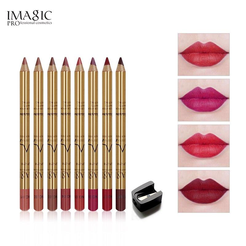 Imagic marca profissional 8 cores lábio forro lápis conjunto de maquiagem natural à prova dwaterproof água longa duração caneta lipliner compõem cosméticos
