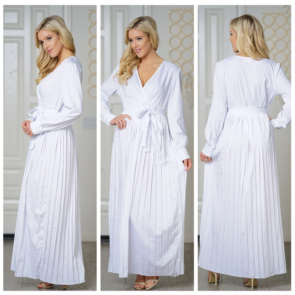 US $22.78 18% OFF|Plunging V Neck Long Sleeve Belted White Maxi Dress Plus  Size Woman Autumn Style Big Swing Ankle Length Slim Pleated Dresses-in ...