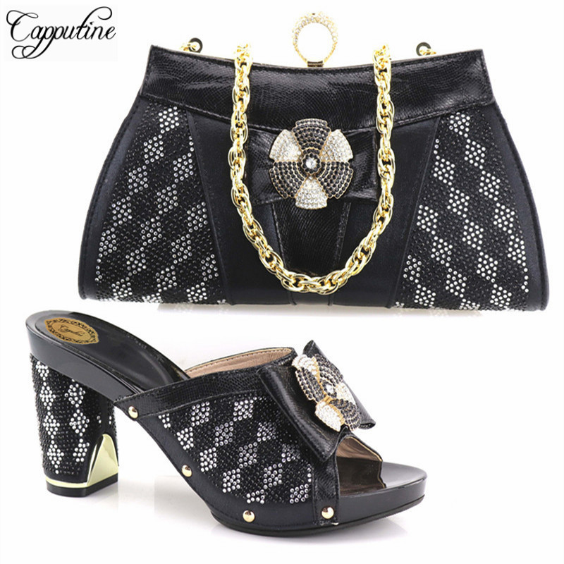Capputine Black Color Italian Shoes And Matching Bags For Women Nigerian Shoes and Bag Set For Wedding African Shoe and Bag Set doershow african shoes and bags fashion italian matching shoes and bag set nigerian high heels for wedding dress puw1 19
