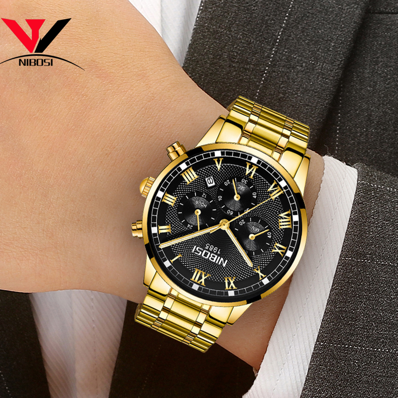 Image 2 - Relogio Masculino NIBOSI Mens Watches Top Brand Luxury Waterproof Stainless Steel Male Clock Dress Famous Business Watch Men2018-in Quartz Watches from Watches