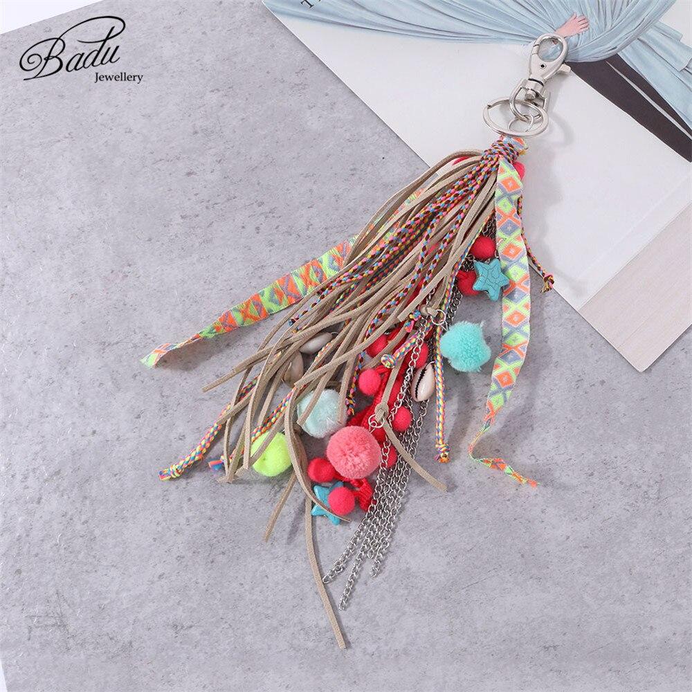 Badu Korean Suede Tassel Key Chain Bohemian Holiday Jewelry Lobster Clasp Bag Chain Handmade Autumn Winter Key Ring Wholesale