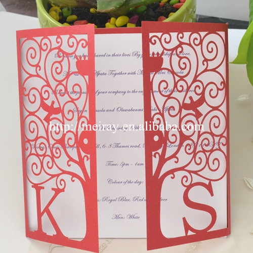 laser cut happiness tree invitation sleeves unique wedding card in