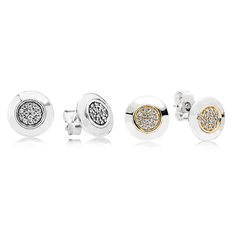 Silver and Gold Round Full Crystal 100% 925 Sterling Silver Pandora Stud Earrings Women's Fine Jewelry(China)