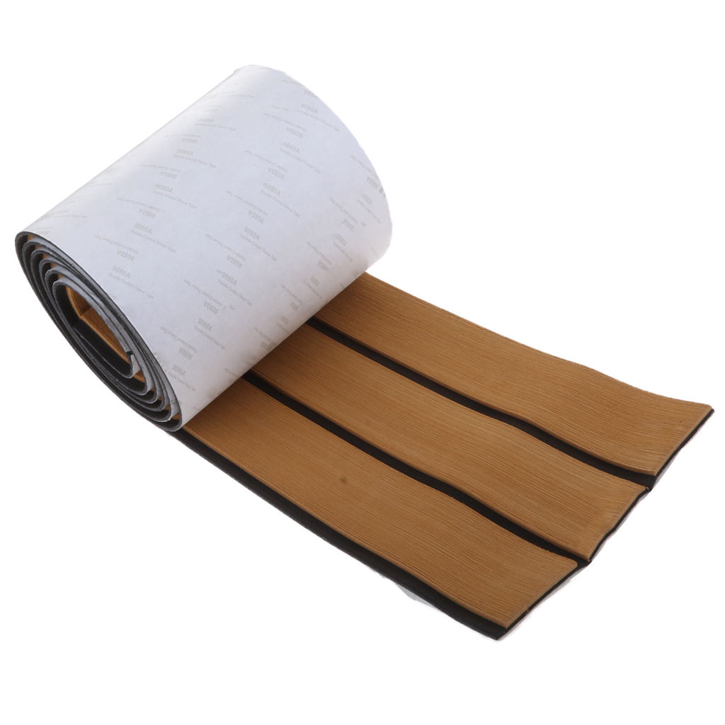 EVA Foam Boat Flooring Sheet Non-Slip Boat Yacht Flooring Mat Faux Teak Self-Adhesion Decking Sheet Pad 240 X 17.1 X 0.6 Cm