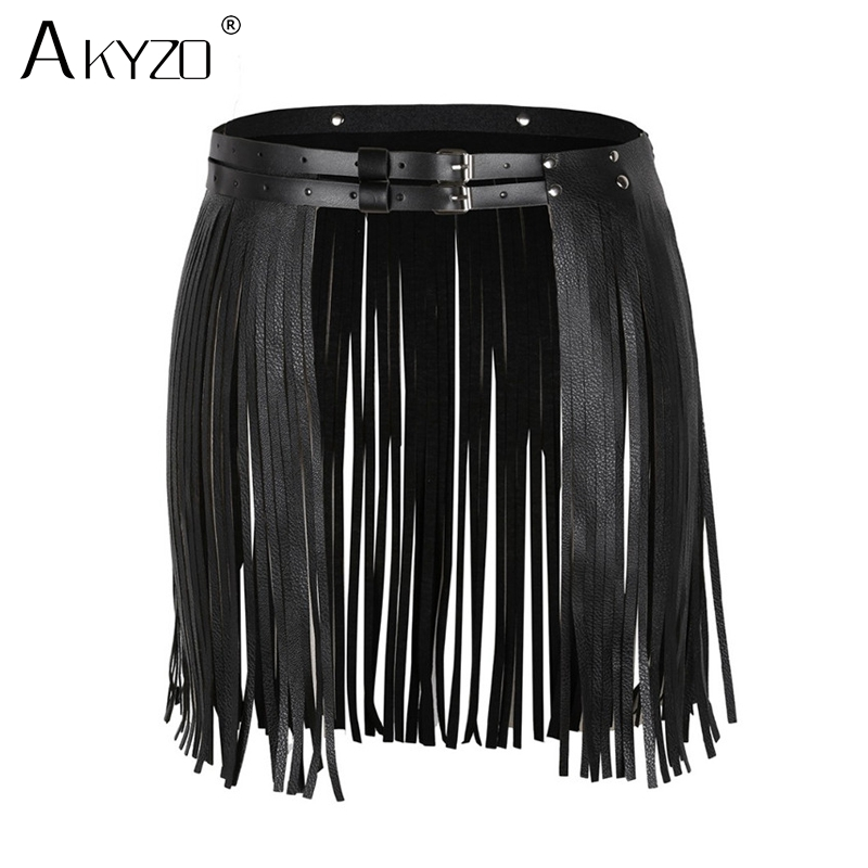 AKYZO Sexy Adjustable Faux Leather Waistband Mini Skirt White Black Tassel Belt Nightclube Active Costume Party Short Skirts
