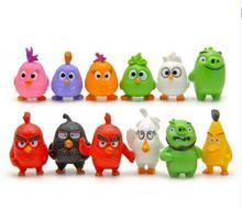 12pcs/lot 4.5cm Flying Red Black Birds PVC Action Figures 3D Cartoon Chuck Bomb Pig Toys Set Kids Gift Home Decoration