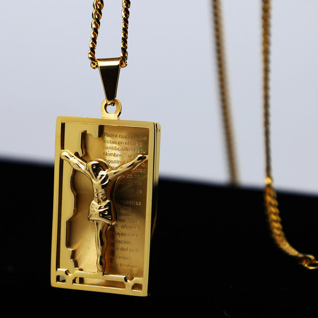 High quality christian bible jewelry rectangle jesus pendant high quality christian bible jewelry rectangle jesus pendant necklace iced out hip hop necklace cuban chain mozeypictures Image collections