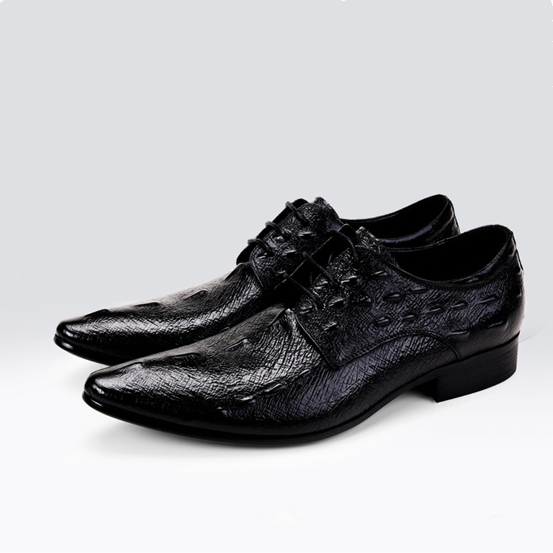 Cheap Sale Mens Genuine Leather Pointed Toe Buckle Leather Shoes Crocodile Print Oxfords Business Man Wedding Shoes Formal Dress Shoes Formal Shoes Shoes