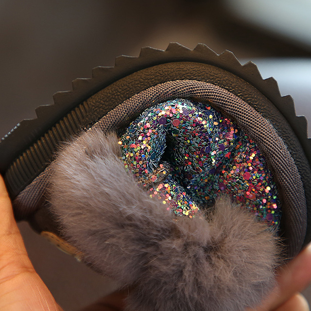 2018 winter Sequins girls boots Princess boys school snow boots thickened baby cotton shoes Non-slip foot warmer 1-9 years old Girl's Shoes