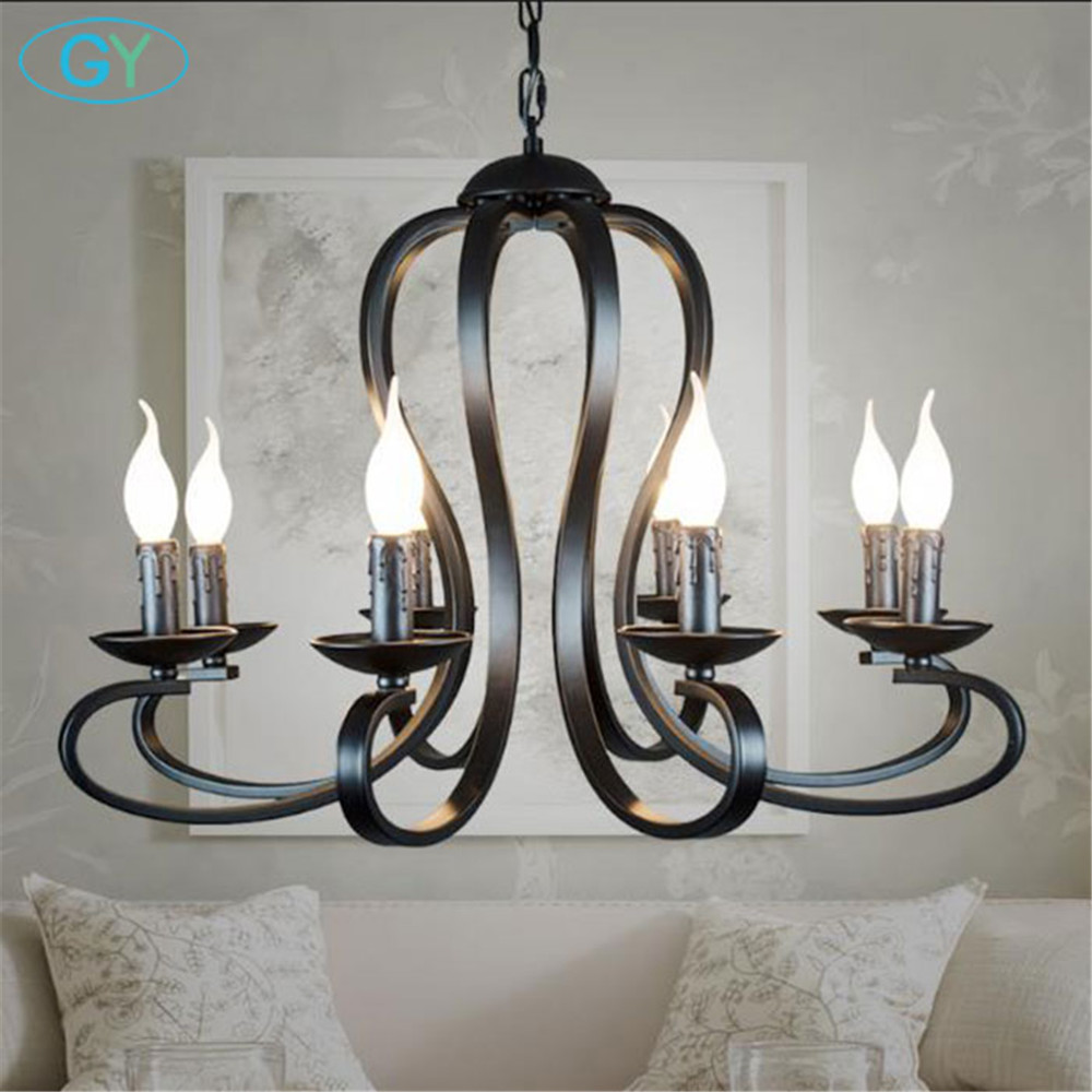 Vintage Europe Style black pendant lighting nordic industrial lustre for living room dining room adjustable height 8 lamp