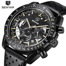 Relogio Masculino BENYAR Fashion Sport Watches Mens Top Brand Luxury Leather Chronograph Quartz Wrist Watch Military Clock 2020 relogio masculino benyar fashion gold chronograph sport watch mens top brand luxury date quartz wrist watches clock man reloj
