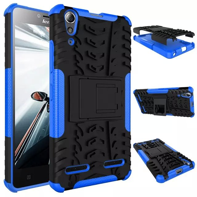 best loved eb3bc 9e3d7 US $3.22 25% OFF|For Lenovo A6000 case soft Silicon Stand cover Case 2 in 1  Dual Layer Tough Rugged Shockproof Cover For Lenovo A6010 Plus case -in ...