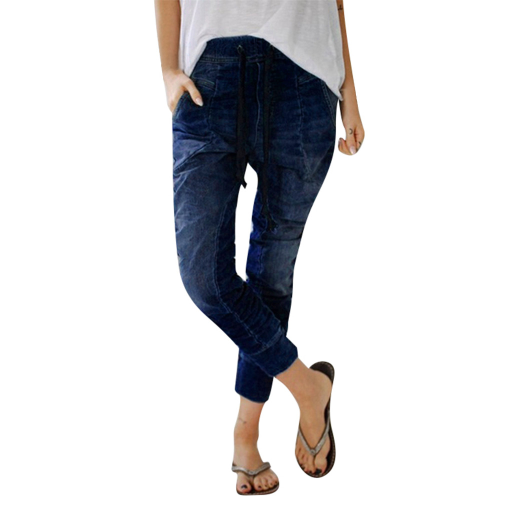 Jeans woman high waist jeans Autumn Elastic Plus Loose soft comfortable Denim Casual Drawstring Plus Cropped jeans mujer