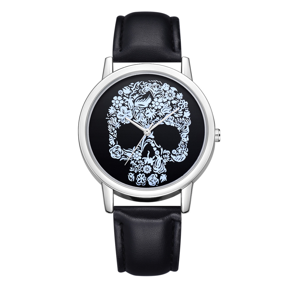 FanTeeDa Women's Watches Leather Band Skull Printed Quartz Round Wrist Watch Analog Quartz Wristwatch Relogio Masculino Fi