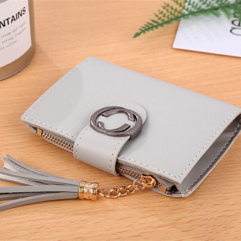 High quality female wallet 2018 new short women wallet Hot sale tassel mini lady travel card holder zipper purse Clutch Carteras 5