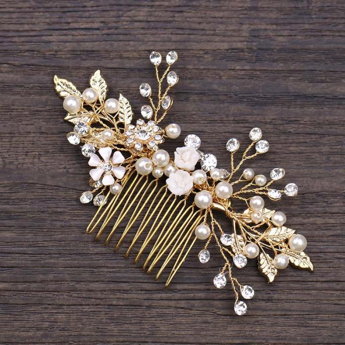 Gold Leaf Flower Pearl Rhinestone Hair Comb Wedding Hair Jewelry 2