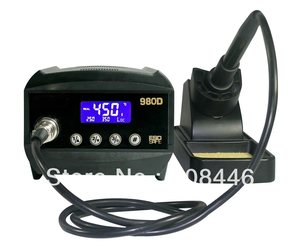 New ATTEN AT980D LCD Digital display ESD safe 80W Soldering Iron Station esd safe 75w soldering handpiece t245a solder iron handle for di3000 intelligent soldering station