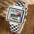 TV Señal de Prueba especial Diseño Reloj de Pulsera de Los Hombres de Moda Simples Mens Rectángulo de Cuarzo Relojes Mujeres de Moda Para Hombre Reloj de pulsera de Regalo