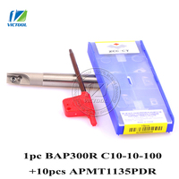 BAP 300R C10 10 100 With 10pcs APMT1135PDR Inserts Milling Tool Head Face Mill For Cnc