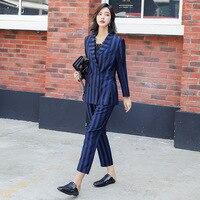 Women's suit new women's striped blue suit women's fashion casual double breasted suit 2 sets (jacket + pants)