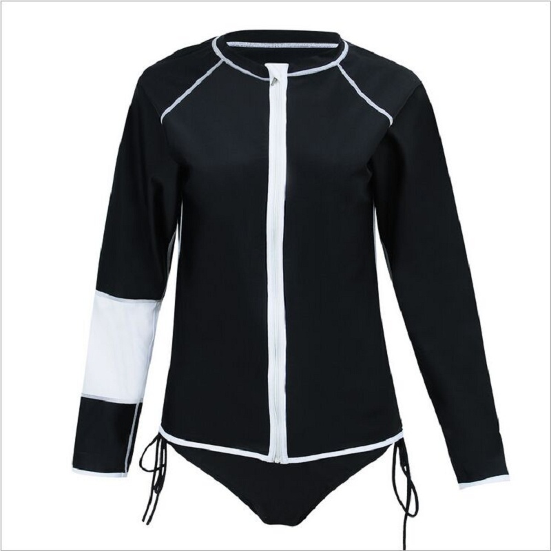 Plus Size Women Swimming Shirt Large Size Swimwear Sweather UV Protection Long Sleeve Beach Shirt Women Bodysuits Rash Guard