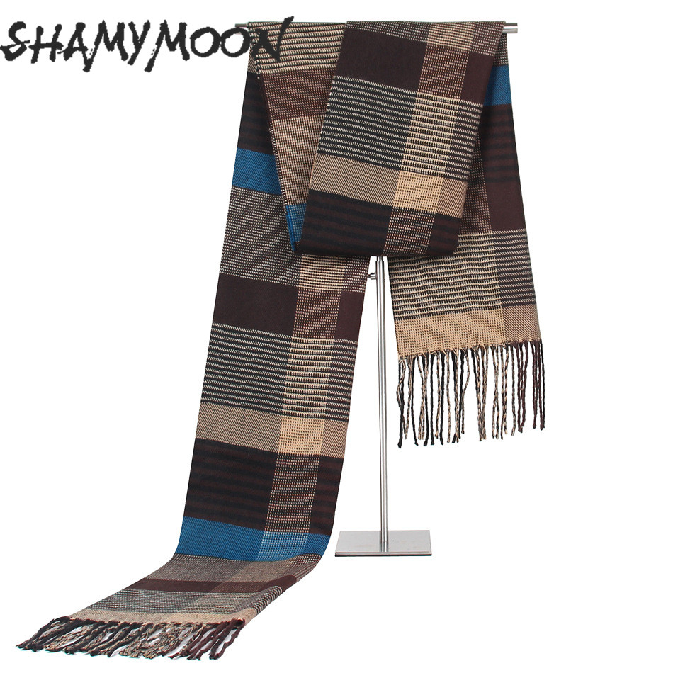 SHAMYMOON Plaid Autumn Winter Classic Cashmere Trend Middle-Aged Men's Casual Scarf
