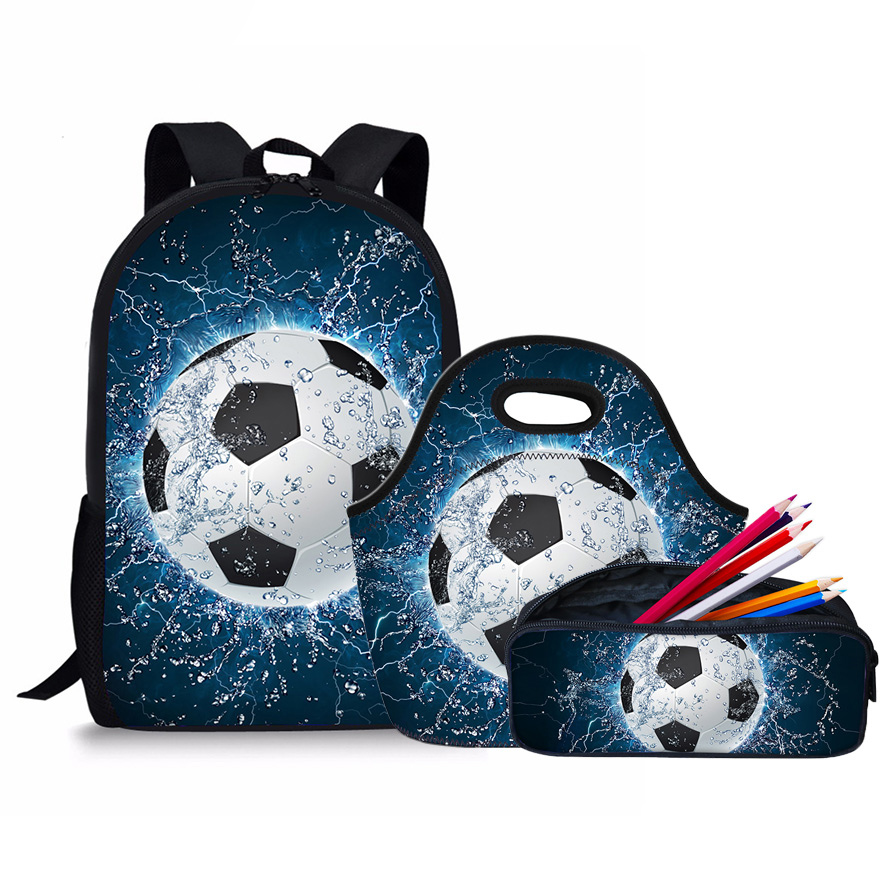 Cool School Back pack Set Kids Schoolbag Foot Ball Pattern School Bags For Girls Boys Ba ...