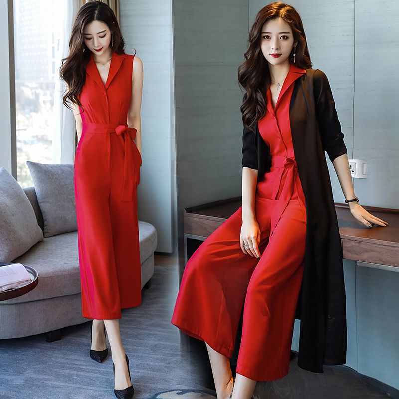 Nouveau Multi rouge Mode Pantalon Femmes Salopette De Mince Jambe Morceau Large Costume noir 2019 Était Coréenne D'été Taille jaune Et Printemps wFftxq