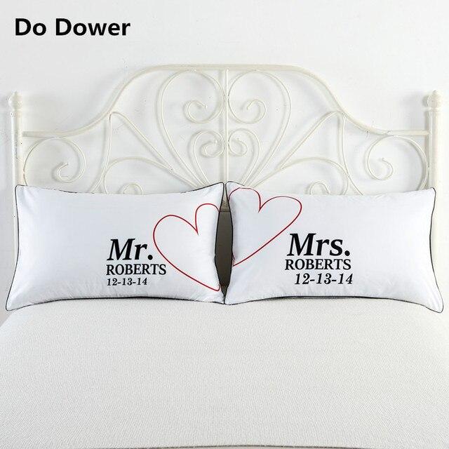 40 Colour Queen King Love Personalized White Pillowcase Decorative Simple Decorative King Pillow Cases