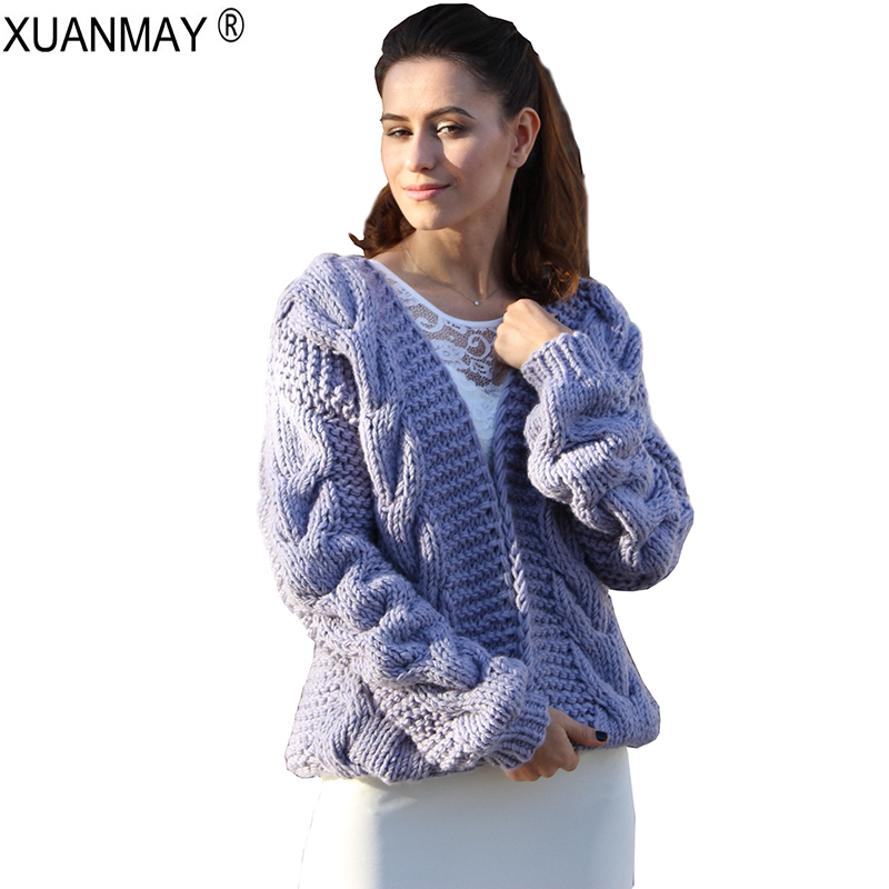 2019 Spring Women s Chunky Cardigan Sweater Handmade Vintage Cable Pattern purple Sweater coat Loose Fit