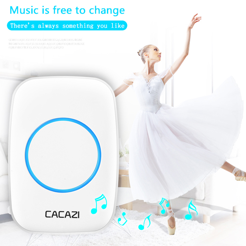 CACAZI Smart Wireless Doorbell Waterproof Transmitter EU Plug 300M Remote Home Calling Bell LED Battery Button 36 Chime 4 Volume