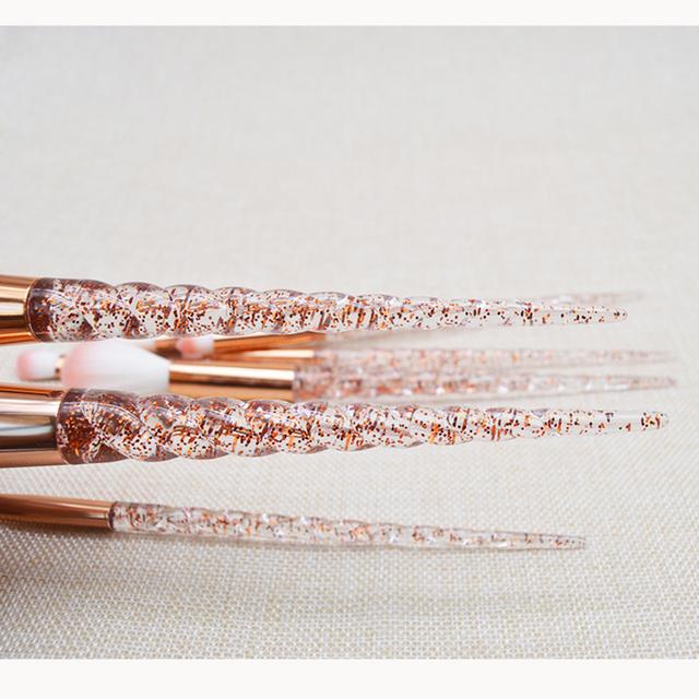 Crystal Glitter Unicorn Horn Shaped Brushes 8 pcs Set