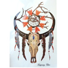 Fashion Waterproof Hot Temporary Tattoo Stickers 21 X 15 CM Buckhorn And Dreamcatcher